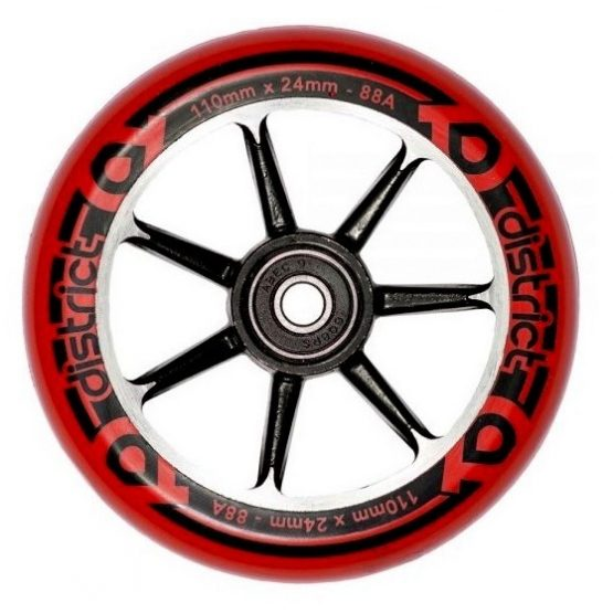 District S-Series 110mm Wheels Red Black side
